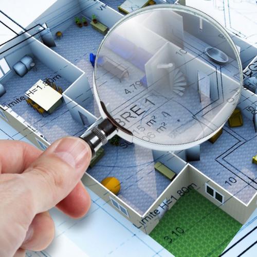 constructeur maison illustration 3d loupe