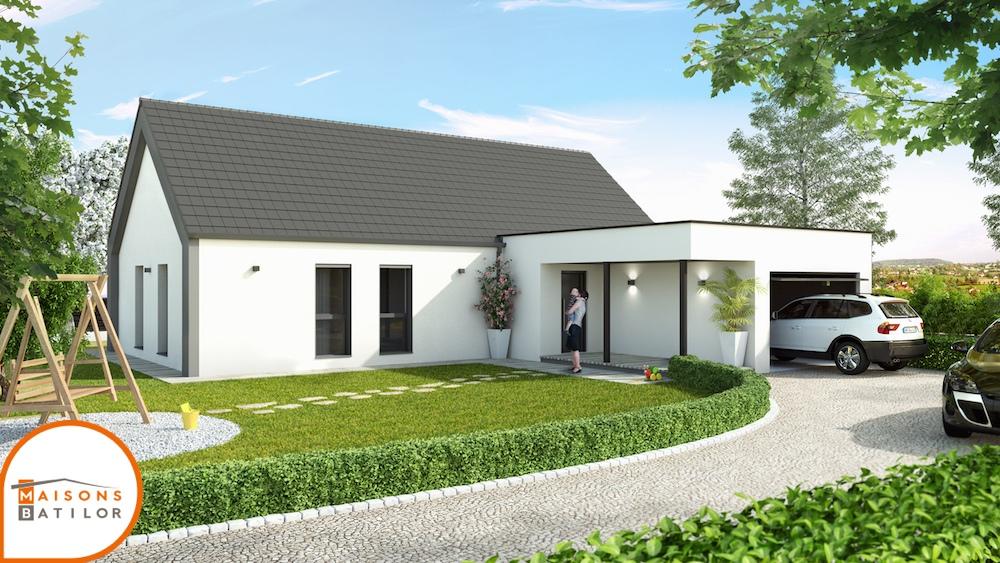 maison moderne avec toit en pente