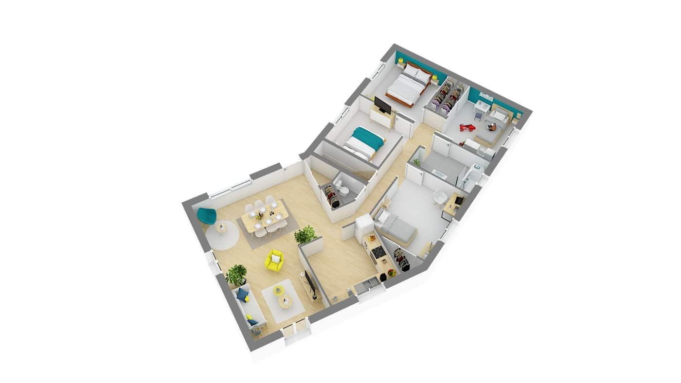 maison traditionnelle de plain pied avec plan en v-vaudoise-g-axo_rdc